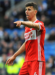 Daniel Ayala of Middlesbrough points - Mandatory by-line: Nizaam Jones/JMP - 17/02/2018 -  FOOTBALL - Cardiff City Stadium - Cardiff, Wales -  Cardiff City v Middlesbrough - Sky Bet Championship