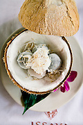 THAI-STYLE STICKY RICE FLOUR MOCHI ICE CREAM: Thai version of Mochi filled with black coconut ice cream,.house roasted southern-style cashew nuts and fresh coconutI, at Issaya Siamese Club