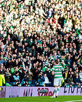 01/02/15 SCOTTISH LEAGUE CUP SEMI-FINAL<br /> CELTIC v RANGERS<br /> HAMPDEN - GLASGOW<br /> Kris Commons celebrates his goal in front of the Celtic supporters.