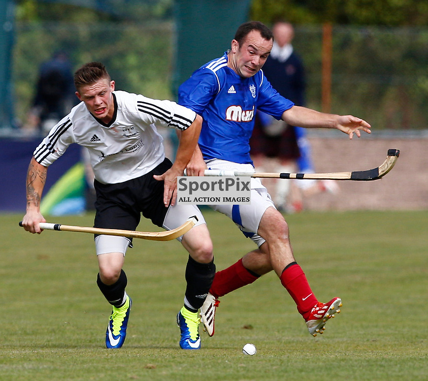 2015 SSE Scottish Hydro Camanachd Cup Final Saturday 19th September at Mossfield Stadium, Oban....Martin Mainland (Lovat) and Roddie MacLeod (Kyles) in action...(c) STEPHEN LAWSON | SportPix.org.uk