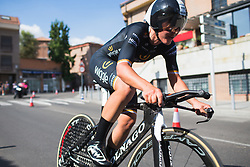 Lisa Brennauer (GER) of Wiggle High5 Cycling Team tackles a fast corner early on Stage 1 of the Madrid Challenge - a 12.6 km team time trial, starting and finishing in Boadille del Monte on September 15, 2018, in Madrid, Spain. (Photo by Balint Hamvas/Velofocus.com)