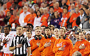 Clemson stands for the National Anthem at Raymond James Stadium in Tampa, Monday, January 9, 2017.