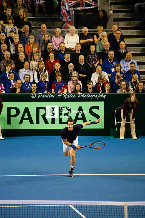 Andy Murray serves a the Davis Cup tie in Glasgow against the USA