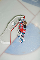 KELOWNA, CANADA, DECEMBER 2: Jordon Cooke #30 of the Kelowna Rockets prepares for the start of the game against the Victoria Royals visit the Kelowna Rockets  on December 2, 2011 at Prospera Place in Kelowna, British Columbia, Canada (Photo by Marissa Baecker/Shoot the Breeze) *** Local Caption ***