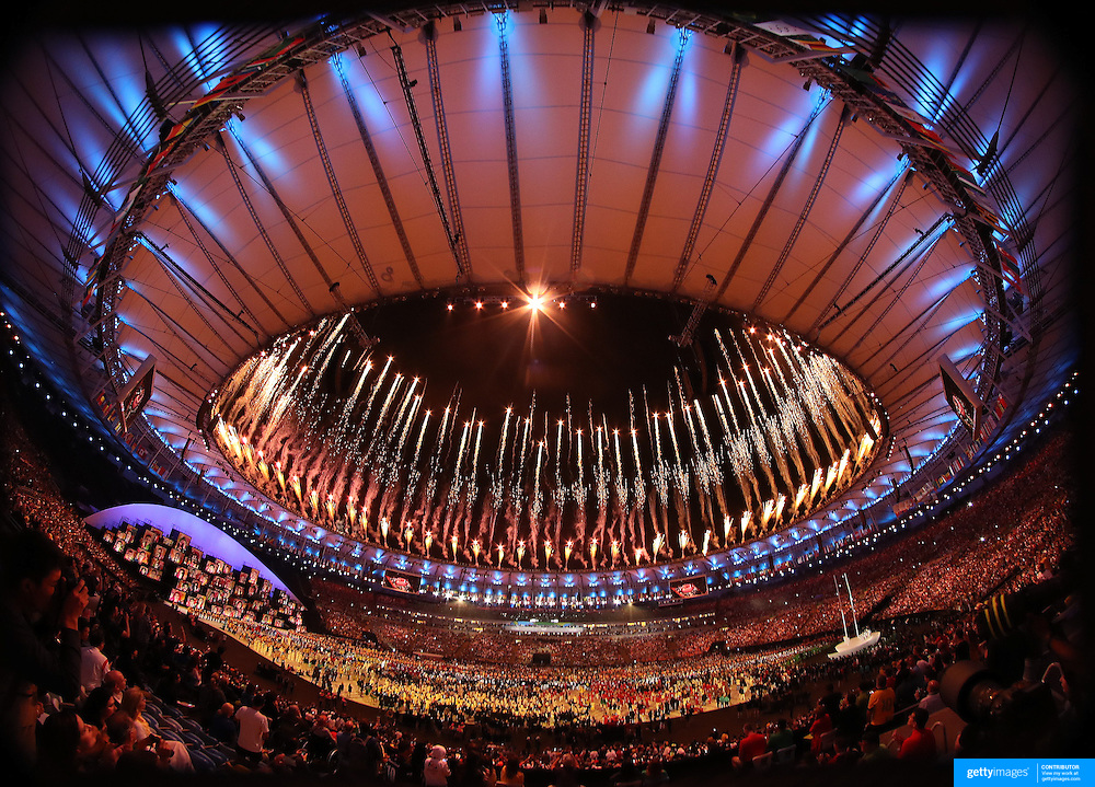 Opening Ceremony 2016 Olympic Games: Fireworks illuminate the Maracana Stadium during the spectacular opening ceremony for the 2016 Olympic Games on August 5, 2016 in Rio de Janeiro, Brazil. (Photo by Tim Clayton/Corbis via Getty Images)