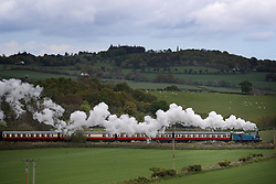 A steam train from the Bo'Ness & Kinneil Railway travels through the West Lothian countryside near Linlithgow.
