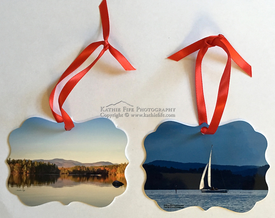 Special Edition On Golden Pond Squam Lake Ornament. Two photographic prints printed on metal stock. Double Sided. Proudly Made in USA<br />