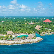 Aerial view of Xcaret Park from a helicopter.