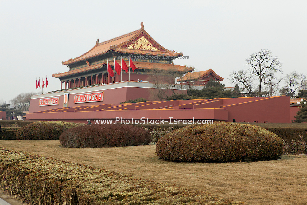 China, Beijing, Tiananmen Square is located in the heart of Beijing, at the entrance to the Forbidden city