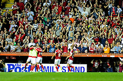 Bristol City's Joe Bryan celebrates his goal in front of the home fans  - Photo mandatory by-line: Dougie Allward/JMP - Tel: Mobile: 07966 386802 04/09/2013 - SPORT - FOOTBALL -  Ashton Gate - Bristol - Bristol City V Bristol Rovers - Johnstone Paint Trophy - First Round - Bristol Derby