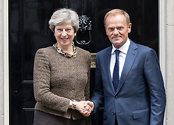 © Licensed to London News Pictures. 26/09/2017. London, UK. President of the European Council Donald Tusk meets British Prime Minister Theresa May in Downing Street. Photo credit : Tom Nicholson/LNP