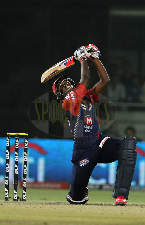 Delhi Daredevils player Andre Russell plays a shot during match 67 of the Indian Premier League ( IPL) 2012  between The Delhi Daredevils and the Royal Challengers Bangalore held at the Feroz Shah Kotla, Delhi on the 17th May 2012..Photo by Vipin Pawar/IPL/SPORTZPICS