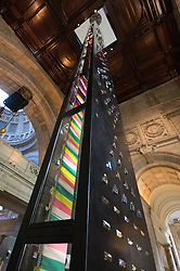 London, September 18th 2015. Zotem, supported by Swarovski.<br /> This 18m tall double-sided monolith stretches up two floors from the entrance through to the Ceramics Gallery. <br /> It was created by young Norwegian designer Kim Thom&eacute; and presents a dynamic optical illusion.<br />  The Victoria and Albert museum celebrates the London Design Festival, which runs from 19 &ndash; 27 September, with a collection of conceptual installation artworks.