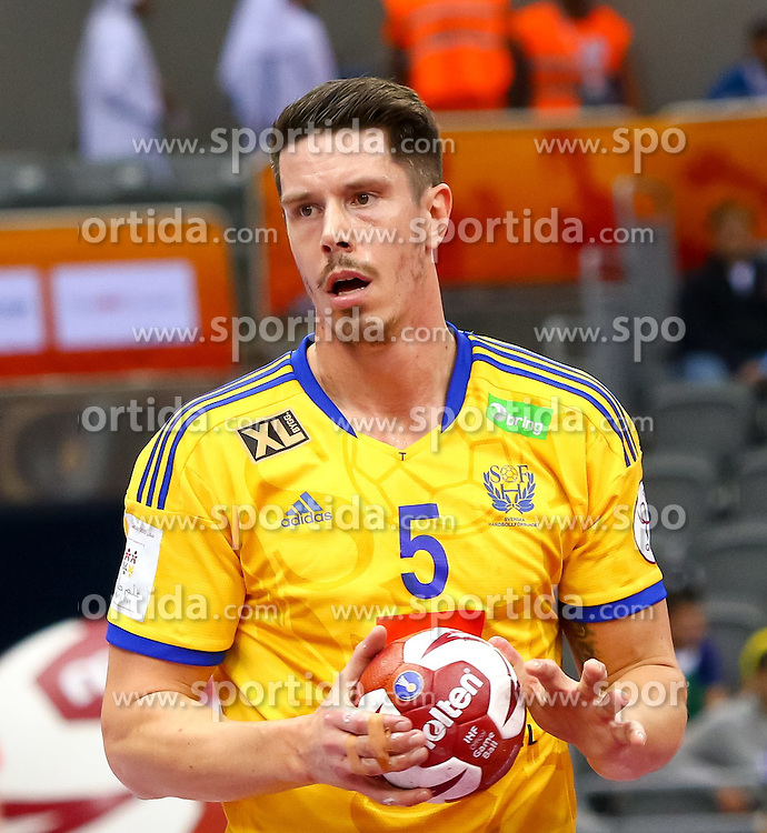 18.01.2015, Ali Bin Hamad Al Attiyah Arena, Doha, QAT, IHF, Handball Weltmeisterschaft der Herren, Gruppe C, Tschechische Republik vs Schweden, im Bild Kim Andersson (SWE) // during the IHF Handball World Championship group C match between Czech Republic and Sweden at the Ali Bin Hamad Al Attiyah Arena, Doha, Qatar on 2015/01/18. EXPA Pictures © 2015, PhotoCredit: EXPA/ Sebastian Pucher