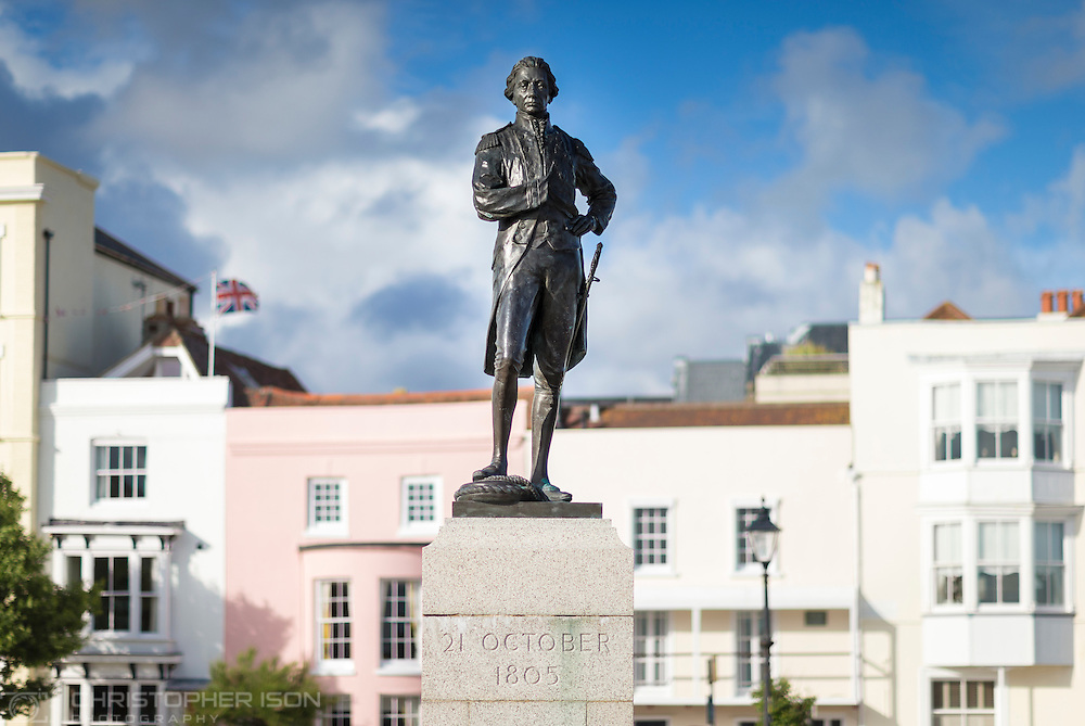 View of the statue of Admiral Lord Nelson on Grand Parade, Old Portsmouth. Assignment shot for the University of Portsmouth.<br /> Picture date: Wednesday June 15, 2016.<br /> Photograph by Christopher Ison &copy;<br /> 07544044177<br /> chris@christopherison.com<br /> www.christopherison.com