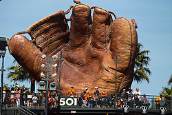 SAN FRANCISCO, CA - MAY 12: General view of a large baseball glove display in the outfield at AT&T Park during the eighth inning between the San Francisco Giants and the Atlanta Braves on May 12, 2013 in San Francisco, California. The San Francisco Giants defeated the Atlanta Braves 5-1. (Photo by Jason O. Watson/Getty Images) *** Local Caption ***