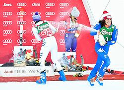 29.12.2017, Hochstein, Lienz, AUT, FIS Weltcup Ski Alpin, Lienz, Riesenslalom, Damen, Flower Zeremonie, im Bild (v.l.) Viktoria Rebensburg (GER, 2. Platz), Mikaela Shiffrin (USA, 3. Platz) und Siegerin Federica Brignone (ITA) // 3rd placed Mikaela Shiffrin of the USA 2nd placed Viktoria Rebensburg of Germany and Winner Federica Brignone of Italy during the Flowers ceremony for the ladie's Giant Slalom of FIS Ski Alpine World Cup at the Hochstein in Lienz, Austria on 2017/12/29. EXPA Pictures © 2017, PhotoCredit: EXPA/ Michael Gruber