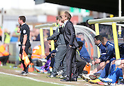Wimbledon manager NEAL ARDLEY during the Sky Bet League 2 match between AFC Wimbledon and Oxford United at the Cherry Red Records Stadium, Kingston, England on 11 April 2015.