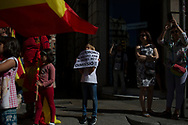 """Spain, Barcelona: Thousands of protesters take to the streets during a demonstration called by """"Societat Civil Catalana"""" (Catalan Civil Society) to support the unity of Spain on October 10, 2017 in Barcelona. Catalans calling themselves a """"silent majority"""" opposed to leaving Spain broke their silence after a week of mounting anxiety over the country's worst political crisis in decades."""