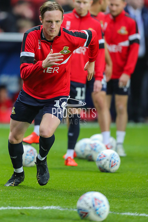 Doncaster Rovers forward Alfie Beestin (14) warms up prior to the EFL Sky Bet League 1 second leg Play-Off match between Charlton Athletic and Doncaster Rovers at The Valley, London, England on 17 May 2019.