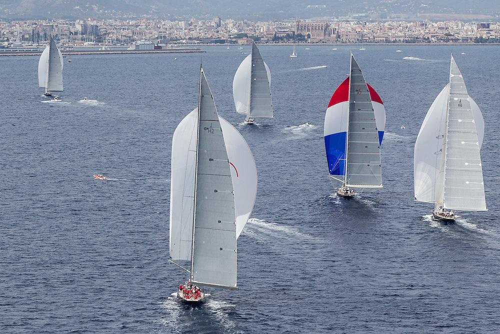 SPAIN, Palma. 21st June 2013. Superyacht Cup. J Class. Race three, coastal race. Finish. L-R, Lionheart, Rainbow, Ranger, Velsheda, Hanuman.
