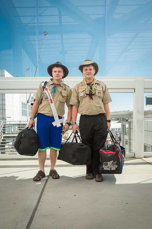 """We're on our way to Sea Base High Adventure Camp in Florida...it's on an island...we're very excited.""  -Boyscout brothers Bjorn and Alexander Phillips await their flight at Seattle Tacoma International Airport."