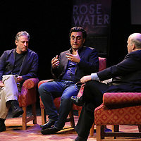 Director Jon Stewart (L) and Iranian Canadian journalist Maziar Bahari speak with Professor Mark Danner at the Berkeley Repertory Theatre about the film Rosewater, on Tuesday, Oct 21, 2004. (Photo/Alex Menendez/ UC Berkeley Graduate School of Journalism)