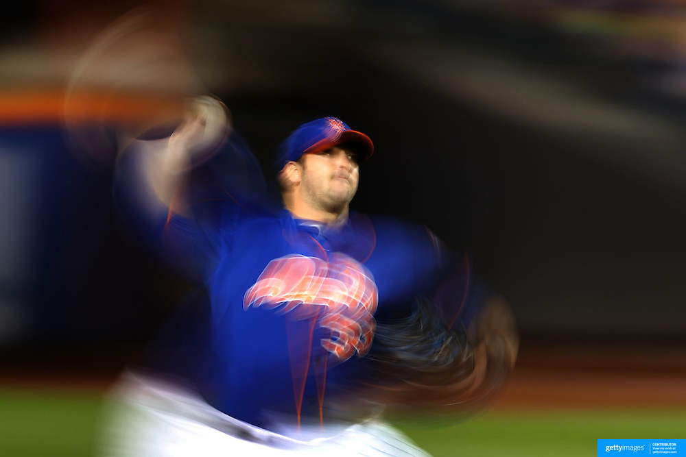 Pitcher Matt Harvey, New York Mets, pitching during the New York Mets Vs New York Yankees MLB regular season baseball game at Citi Field, Queens, New York. USA. 20th September 2015. Photo Tim Clayton