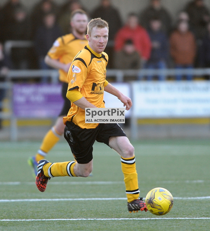 Steven Sloan (Annan Athletic, amber &amp; black) <br /> <br /> Annan Athletic v Elgin City, SPFL League 2, 30th January 2016<br /> <br /> (c) Alex Todd | SportPix.org.uk