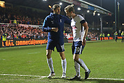 Tottenham Hotspur  Fernando Llorente (18) congratulates  Tottenham Hotspur Harry Kane (10) at the end of the game. during the The FA Cup 4th round match between Newport County and Tottenham Hotspur at Rodney Parade, Newport, Wales on 27 January 2018. Photo by Gary Learmonth.