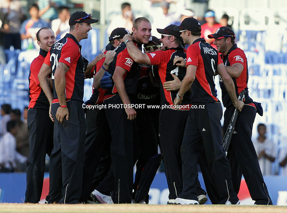 Stuart Broad (c) celebrate the win with teammates. ICC Cricket World Cup 2011. Africa v England. MA Chidambaram Stadium, Chepauk, Chennai, 6 March 2011. Photo: photosport.co.nz