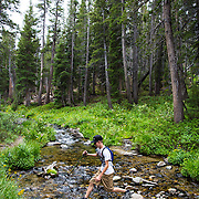 A young man crosses a creek while hiking in Mammoth Lakes, CA.