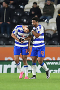Nick Blackman Reading FC  and Garath McCleary Reading FC  celebrate going 1-0 up during the Sky Bet Championship match between Hull City and Reading at the KC Stadium, Kingston upon Hull, England on 16 December 2015. Photo by Ian Lyall.