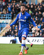Gillingham defender Max Ehmer appeals for a penalty during the Sky Bet League 1 match between Gillingham and Peterborough United at the MEMS Priestfield Stadium, Gillingham, England on 23 January 2016. Photo by David Charbit.