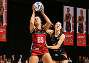 Tactix goal shoot Ellie Bird and Magic goal keep Kate Llyod in action during the ANZ Premiership netball match - Magic v Tactix played at Claudelands Arena, Hamilton, New Zealand on 30 July 2018.<br /> <br /> Copyright photo: © Bruce Lim / www.photosport.nz