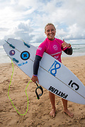 Yolanda Hopkins (PRT), jubilant after winning the Final of the Women's Longboard Pro Champion, Boardmasters 2019 at Fistral Beach, Newquay, Cornwall, United Kingdom on 11 August 2019.