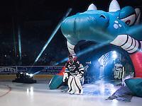 KELOWNA, CANADA - SEPTEMBER 25: Michael Herringer #30 of Kelowna Rockets enters the ice during the season home opener against the Kamloops Blazers on September 25, 2015 at Prospera Place in Kelowna, British Columbia, Canada.  (Photo by Marissa Baecker/Shoot the Breeze)  *** Local Caption *** Michael Herringer;