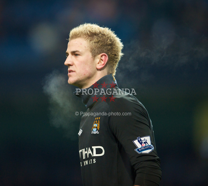 MANCHESTER, ENGLAND - Monday, December 20, 2010: Manchester City's goalkeeper Joe Hart in action against Everton during the Premiership match at the City of Manchester Stadium. (Pic by: David Rawcliffe/Propaganda)
