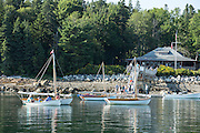 Center Harbor, Maine - 9 August 2014. Boats at anchor off the Center Harbor Yacht Club.