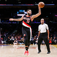 26 March 2016: Portland Trail Blazers guard Allen Crabbe (23) reaches for the ball during the Portland Trail Blazers 97-81 victory over the Los Angeles Lakers, at the Staples Center, Los Angeles, California, USA.