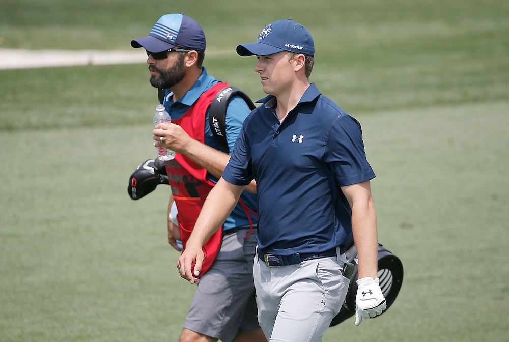 Jordan Spieth and his caddie walk the  second fairway in the Shell Houston Open-Round 1 at the Golf Club of Houston on Wednesday, March 31, 2016 in Humble, TX. (Photo: Thomas B. Shea/For the Chronicle)