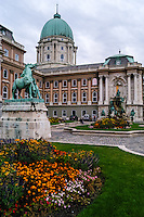 Budapest, Hungary.  Royal Palace on Castle Hill. Statue of the horseherd and Matthias Fountain.