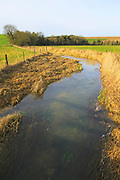 Meandering River Kennet, West Kennet, near Avebury, Wiltshire, England, UK