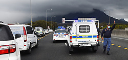 South Africa -Cape Town - 16 September 2020 - Funeral parlour business owners caused traffic when they took out a coffin on the N2 as part of their three day strike.Public Order Police prevented them from continuing as some of the vehicles were turned back and now allowed to drive to the Cape Town CBD. Picture:Phando Jikelo/African News Agency(ANA)