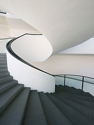 Stairway inside Neues Museum or New Museum modern art museum in Nuremberg Germany