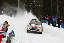 15.02.2015,  Karlstad, SWE, FIA, WRC, Schweden Rallye, im Bild Kris Meeke/Paul Nagle (Citroen Total Abu Dhabi WRT/DS3 WRC) // during the WRC Sweden Rallye at the Karlstad in Karlstad, Sweden on 2015/02/15. EXPA Pictures © 2015, PhotoCredit: EXPA/ Eibner-Pressefoto/ Bermel<br /> <br /> *****ATTENTION - OUT of GER*****