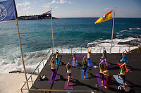 Sydney Sites travel series. View of the Bondi Ice Bergs ocean pool from Sydney's Bondi to Bronte walk featuring a new cafe and a Yoga class on a Saturday morning.