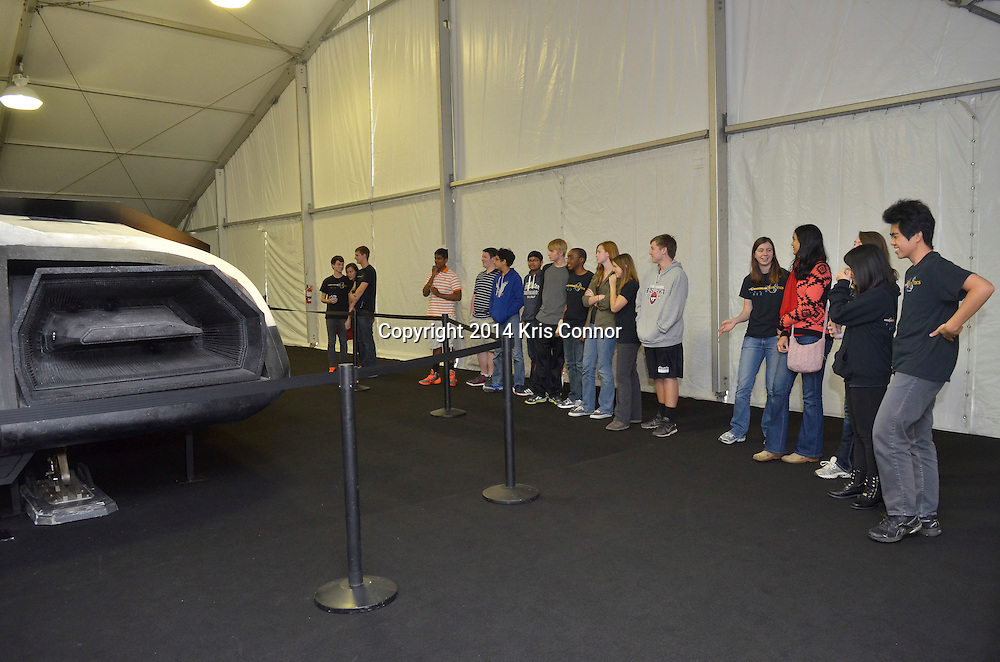"Members of the press and students from Chantilly High School attend the ""Ranger"" Spacecraft from the upcoming movie INTERSTELLAR and experience the Oculus Rift Development Kit 2 Experience ride at the Smithsonian's National Air & Space Museum at Udvar Hazy in Chantilly, Va on November 5th, 2014. Photo by Kris Connor/Paramount Pictures"