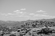 Black and white photo mountain landscape wall art. Perfect clouds over a rocky mountain range. Los Angeles hiking at Rocky Peak Park, CA. Matted print, limited edition. Fine art photography print.
