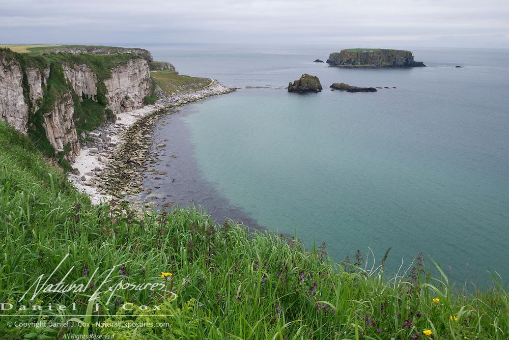 Coastline near Carrick-a-Rede rope bridge in County Antrim, Ireland.